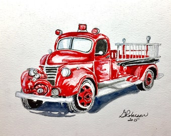 Vintage firetruck, red fire engine, fireman, original watercolor , 8x10 inches