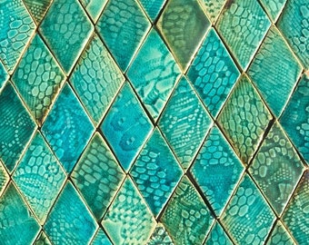 0.2 sqm Green and Aqua Textured Diamond-shaped Stoneware Tiles *Seconds*