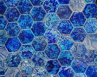0.8 sqm Blue/Aqua Hexagonal Tiles *Seconds*