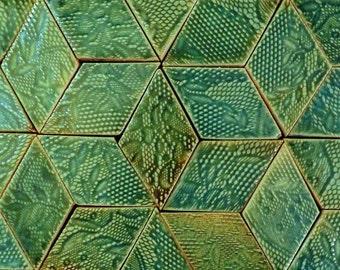 Diamond-Shaped Handmade Tiles In Aquamarine Glaze