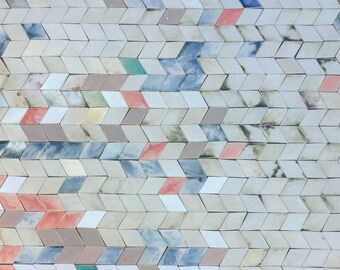 1.9 sqm Diamond-shaped Tiles in Pale, Neutral Tones *Seconds*