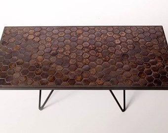 Wrought Iron Coffee Table Topped With Hexagon-Shaped Black & Gold Handmade Ceramic Tiles