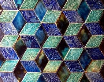 Diamond-Shaped Handmade Wall Tiles (In Three Glazes) By Guy Mitchell Design