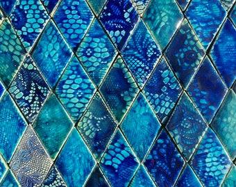 0.25 sqm Blue and Aqua Textured Diamond-shaped Stoneware Tiles *Seconds*