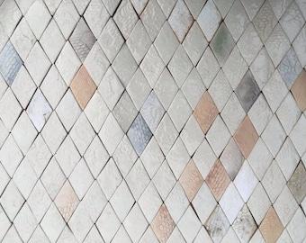 0.25 sqm Diamond-shaped Tiles in Pale, Neutral Tones *Seconds*