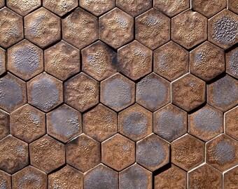 Luxurious gold and black mini hexagon tiles
