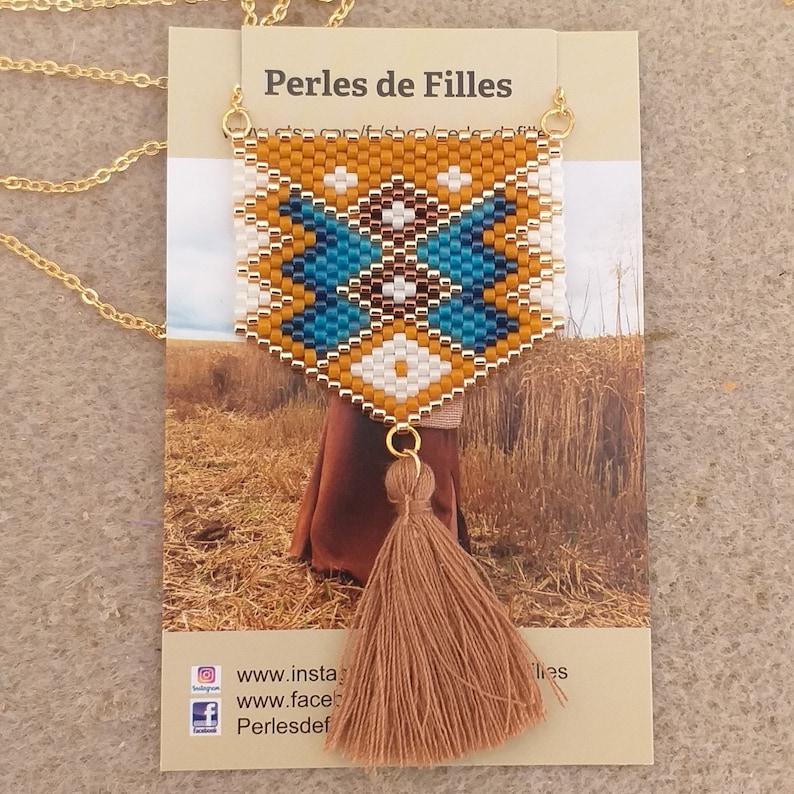 capri blue cobalt blue necklace necklace chain gold mesh fine pendant hand-woven beads miyuki mustard beige and gold