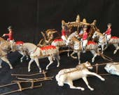 SUPER SALE Vintage Britain 39 s Miniature Lead Metal Queen 39 s Coronations Gold Carriage With White Horses And Mounted Soldiers