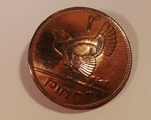 Vintage Handmade Irish Copper 1965 Eire Penny Coin Harp Chicken With Chicks Brooch Pin