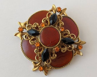Vintage Victorian Style Gold Red Black Orange Rhinestone Cluster Cameo Brooch Pin