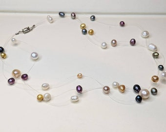 Vintage Illusion Necklace Silver Tone with Royal Blue /& Purple Beads 20
