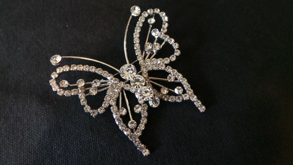 HUGE Giant Silver Rhinestone Butterfly Stunner Spa