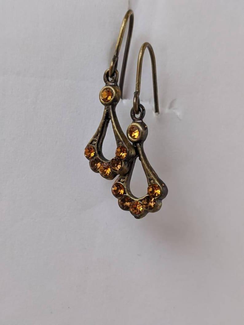 Vintage Antique Style Bronze Orange Rhinestone Delicate Droplet Dangle Earrings