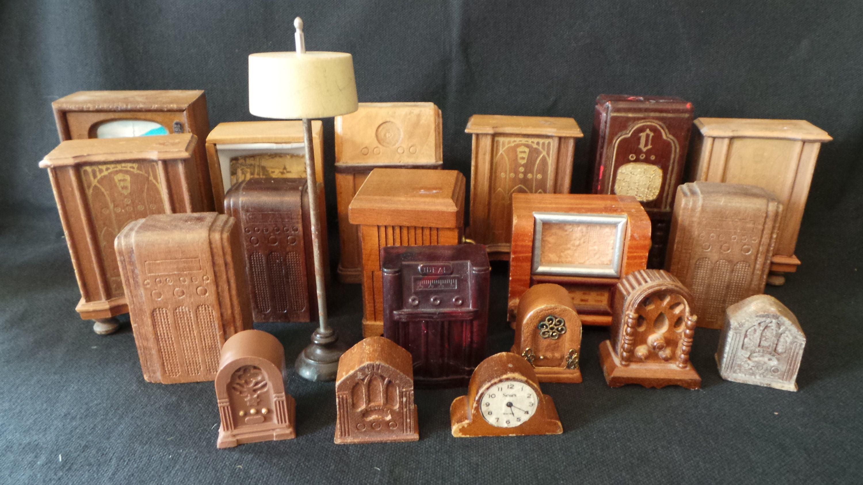 SALE HUGE Lot Antique Vintage Dollhouse Miniature Wood TV Television Radio  Cabinet Clock Lamp Decor Furniture Fun And Games Brown Wood