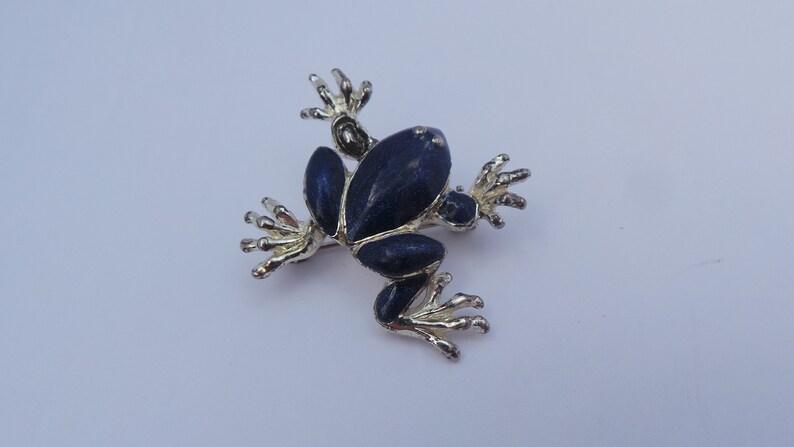 Vintage Miniature Silver Dark Blue Sparkle Enamel Tree Frog Brooch Pin