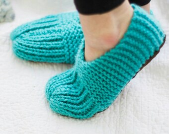 Knit Slipper Booties for Women - Cozy Slippers - Women's Slippers with Soles - Knit Slipper Boots - Bedroom Slippers - Indoor Slippers