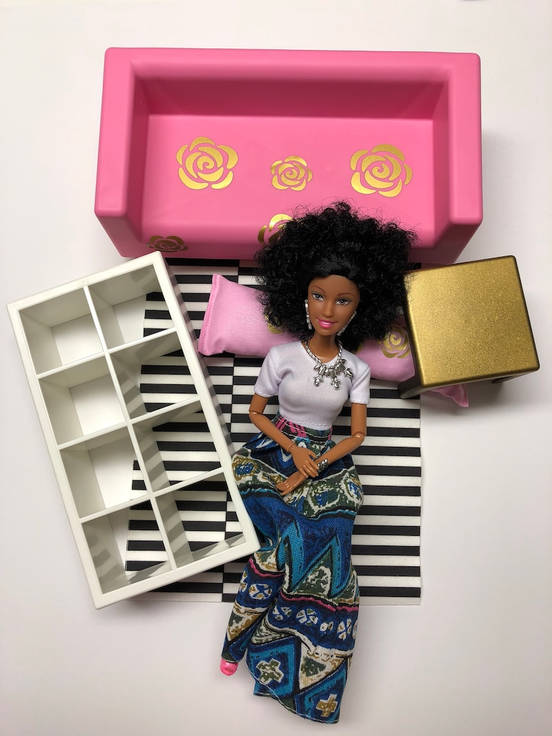 . IKEA Dollhouse Furniture and African Doll Gift Set