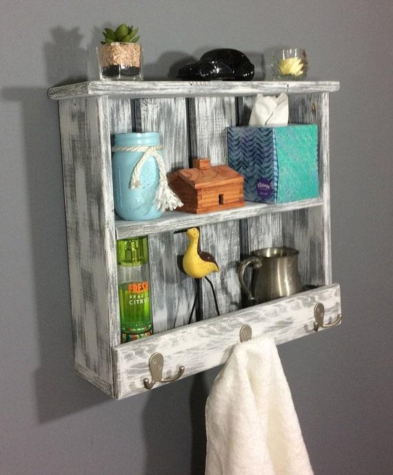 white rustic shelf with hooks, bathroom shelf with towel hooks, white  shabby chic shelf, rustic entryway shelves, rustic wall decor, shelves
