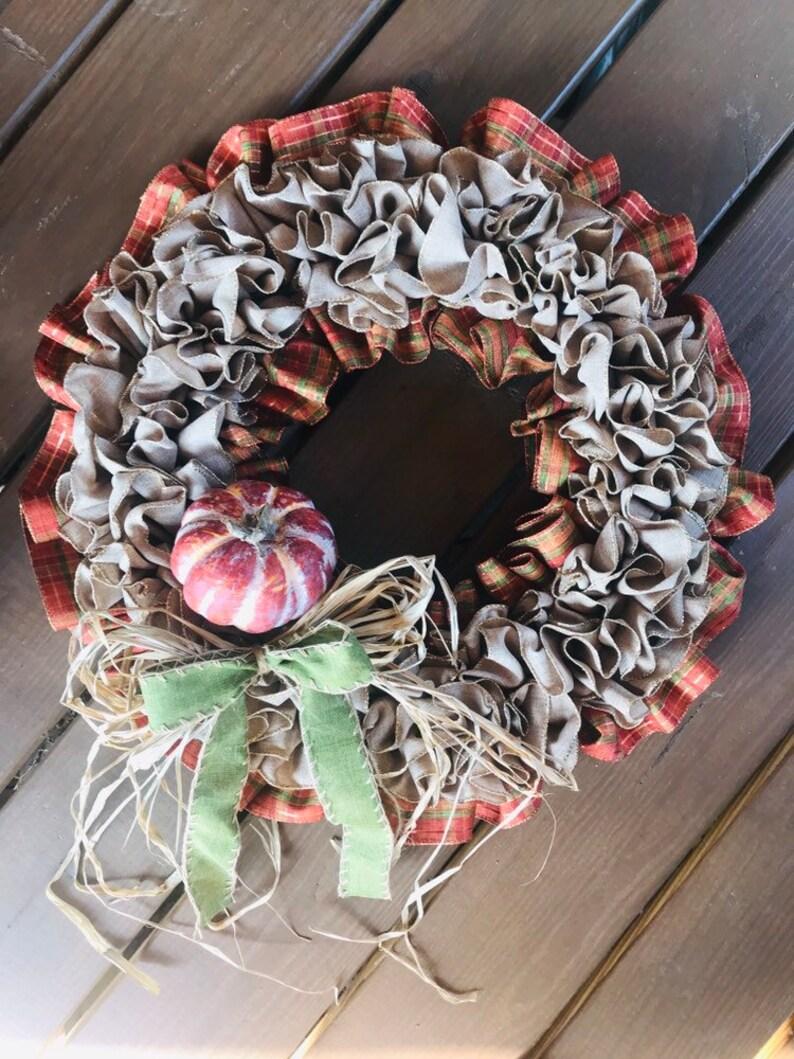 Fall Wreath for Front Door Fall Door Decor Ruffled Ribbon Wreath For Fall Fall Wreath Autumn Wreath