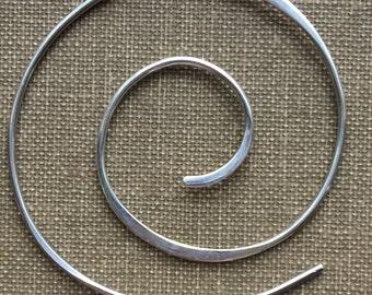 Sterling Silver Spiral Hoops Beading Hoops Spiral Earrings (One Pair)