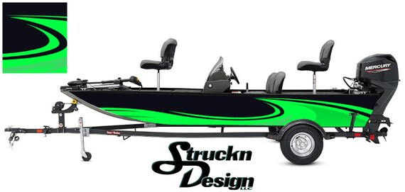 Graphic Abstract Fishing Bass Boat Wrap Black Decal Vinyl Fish Skeletons Lime