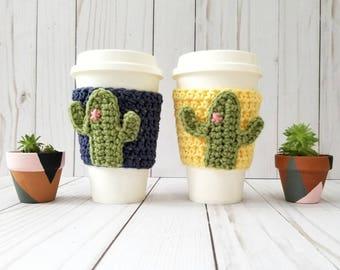 Cactus Cup Cozy, Succulent Cup Cozy, Cactus Coffee Cup Cozy, Cup Sleeve, Coffee Cup Warmer, Cacti Cup, Saguaro Cactus, Mug Cozy, Cup Sweater