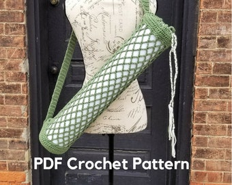 Yoga Bag Crochet Pattern, Yoga Mat Carrier Crochet Pattern, Yoga Mat Bag Instructions, DIY Yoga Bag, Yoga Crochet Pattern, Yoga Accessories