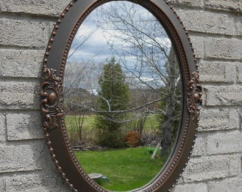 Wall Oval Mirror With Oil Rubbed Bronze Color Frame Bathroom Etsy