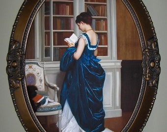 VICTORIAN ART PRINT, on canvas, in oval frame with bronze finish.