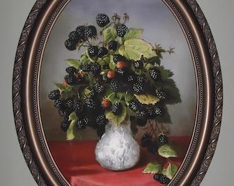Blackberries still life Art print on canvas in bronze color oval frame.