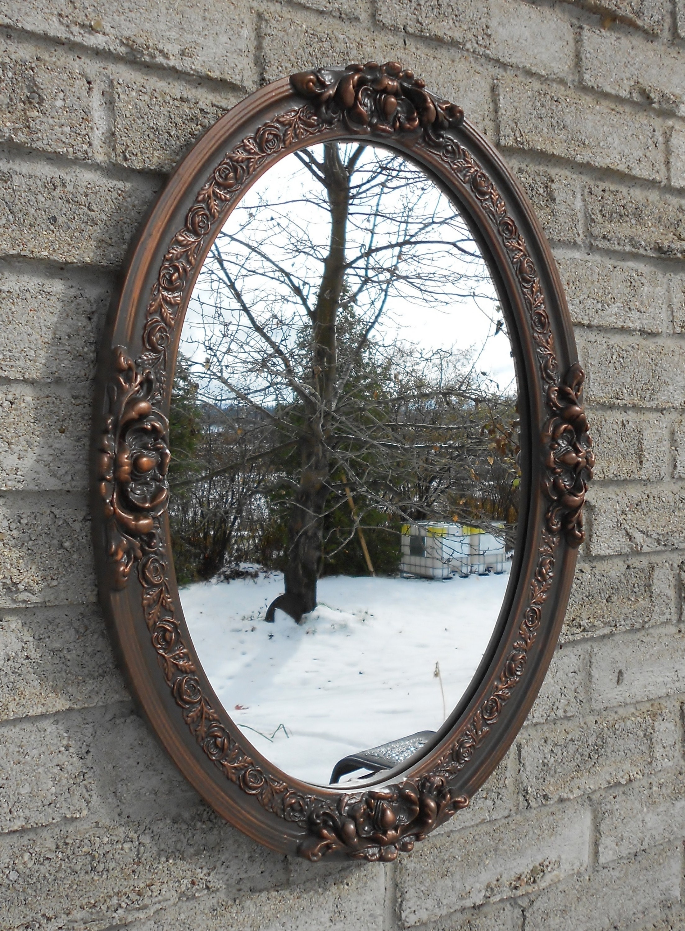 Wall oval mirror with oil rubbed bronze color frame ...