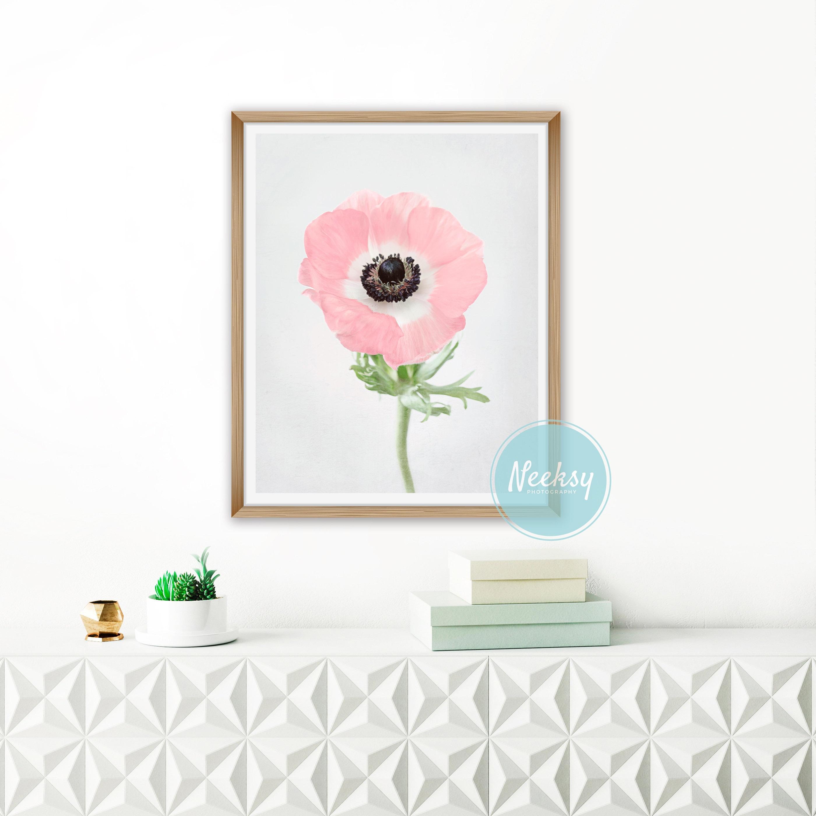 Pink Flower Art Anemone Print Botanical Wall Art Pink Bedroom Art