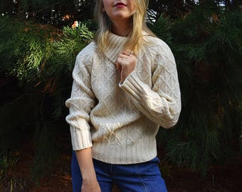 Vintage Sweater, White Sweater Large, Pullover Sweater, Ivory White Jumper, Cream Sweater, Diamond Knit Jumper, Vintage Knitwear