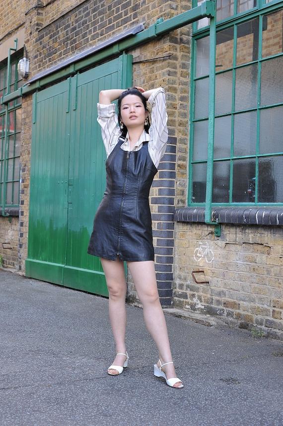 Vintage Leather Dress Small, Black Leather Mini Dr