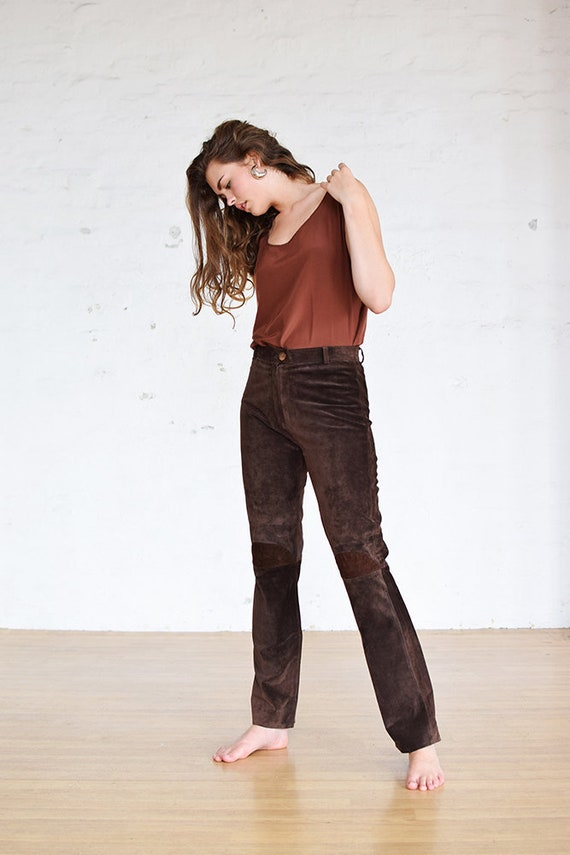 """Vintage Suede Trousers 28"""" Waist, Leather Trousers"""