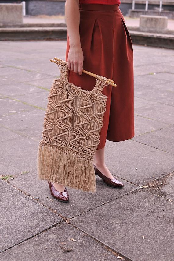 Vintage 70s Woven Macrame Bag, Boho Market Bag Wit
