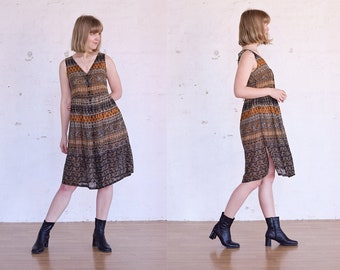 Vintage Paisley Dress Large, 90s Dress Floral Dress, Knee Length Dress Size L, Boho Dress, Printed Dress, Sleeveless Dress, 90s Clothing