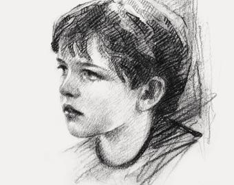 Charcoal Portrait Charcoal sketch from Photo Fine Art CUSTOM Portrait Personalized portrait Art From Picture Photo Drawing