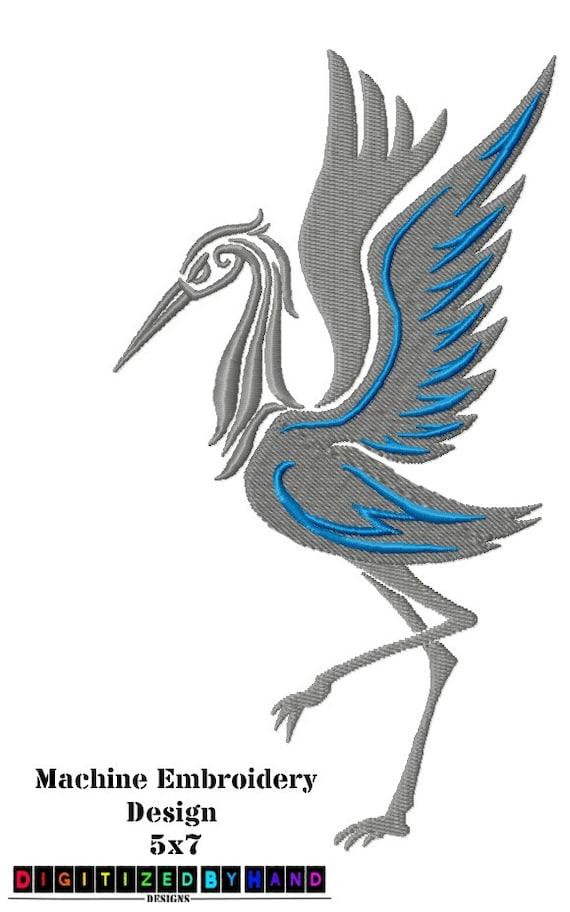 Diseño de bordado la máquina oriental grúa aves en Etsy | Etsy