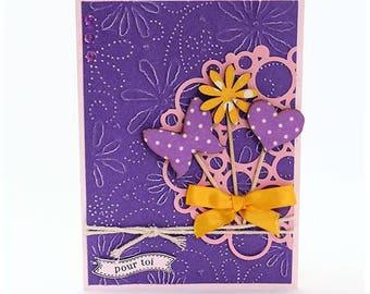 "Doppelte Karte handgefertigte lila und Rosa ""for you"""