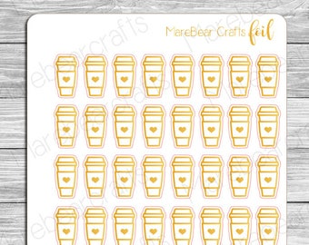 FOILED Coffee Cup Stickers! Foiled Functional Planner Stickers Perfect for Any Planner!