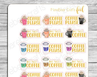 FOILED Coffee Quote Stickers! Foiled Functional Planner Stickers Perfect for Any Planner!