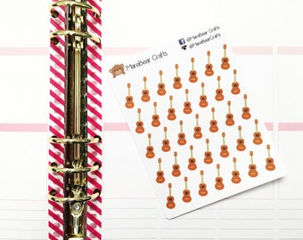 30 Guitar / Music Lesson Stickers! Perfect for your Erin Condren Life Planner, Filofax, Kikkik, Plum Paper and other planner/agenda!