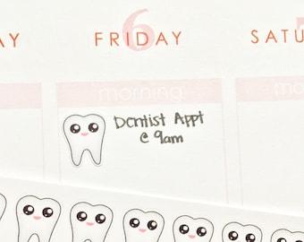 30 Happy Teeth Stickers! Perfect for your Erin Condren Life Planner, Filofax, Kikkik, Plum Paper and other planner/agenda, or scrapbooking!