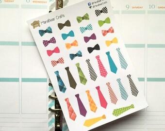 32 Bow Tie / Tie Stickers! Perfect for Erin Condren Life Planner, Filofax, Kikkik, Plum Paper & planner/agenda, or scrapbooking!