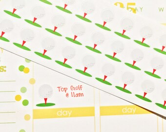 39 Golf Ball Stickers! Perfect for your Erin Condren Life Planner, Filofax, Plum Paper & other planner or scrapbooking!!