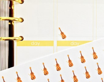39 Small Violin Stickers! Perfect for your Erin Condren Life Planner, Filofax, Plum Paper & other planner or scrapbooking!