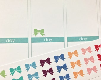 30 Colorful Bow Stickers! Perfect for your Erin Condren Life Planner, Filofax, Kikkik, Plum Paper and other planner/agenda, or scrapbooking!