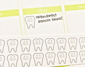 30 Brace Face / Teeth Stickers! Perfect for your Erin Condren Life Planner, Filofax, Kikkik, Plum Paper and other planner/agenda!
