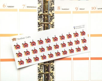 30 Barn Stickers! Perfect for your Erin Condren Life Planner, Filofax, Plum Paper & other planner or scrapbooking!